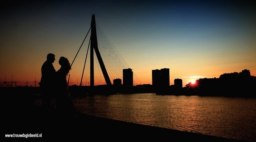 Sunset trouwreportage skyline Rotterdam