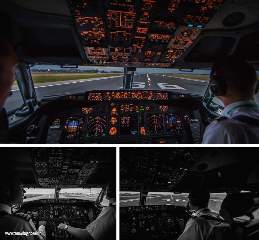 Meevliegen in een cockpit van een Boeing 737-800