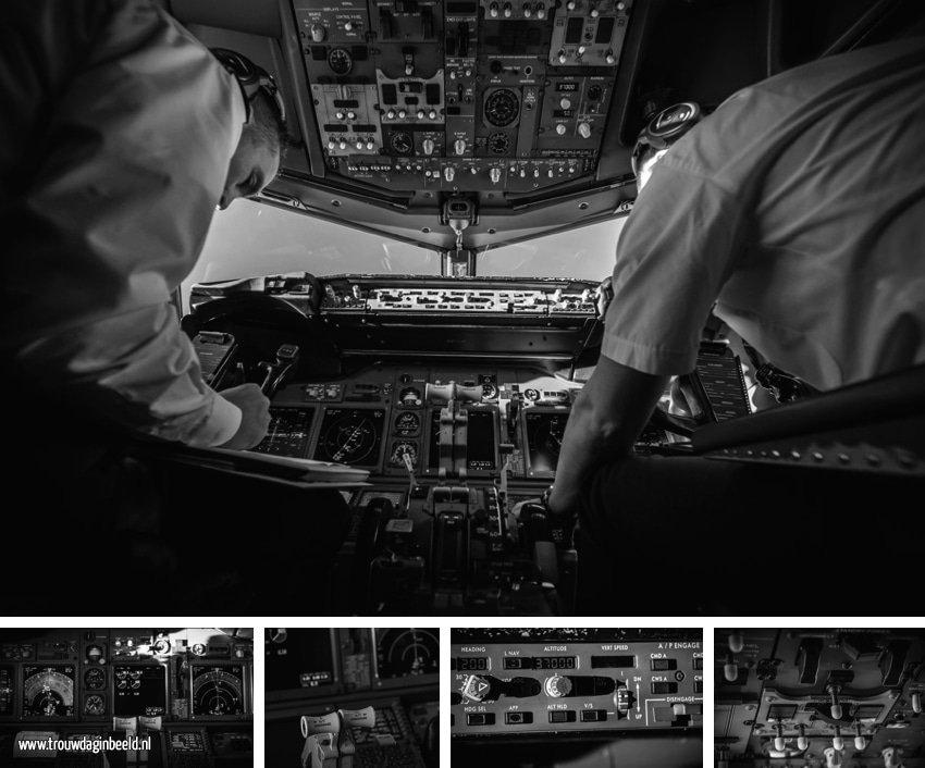 Meevliegen in een cockpit van een Boeing